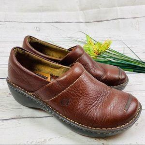 BOC Brown Leather Slip on Horse Print Clogs